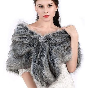 Jackets & Blazers - Bridal-Faux fur stole with snowflake broach